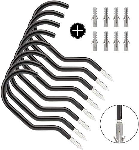 LONGCHAO 8 Stücke Fahrrad Wandhalterung Fahrradhaken, Fahrradhalter Radhalter Wandmontage geeignet vielseitig einsetzbar zum Aufhängen verschiedener Geräte, Belastbarkeit 15,43 lbs / 27 kg