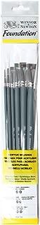 Winsor & Newton : Foundation Acrylic Brush Set : LH Round 3& 6 Flat 10&14 Filbert 3&6