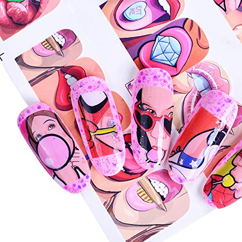 12 Designs Pop Art Aufkleber DIY Wassertransfer Nail Art Aufkleber Full Wraps Bunte Tipps Sexy Lippen Dekorationen Maniküre SABN349-360