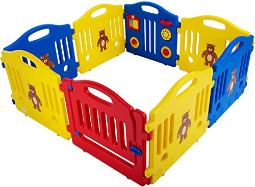 Baby Playpen for Babies Baby Play Playards 8/10 Panels Infants Toddler Baby Fence Safety Kids Play Pens Indoor with Activity Board (8 Panels)