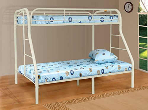 Major-Q White Modern Metal Tube Supported Twin over Full Bunk Bed with Built-In Ladders & Full Length Guard Rails (SH4502WH)
