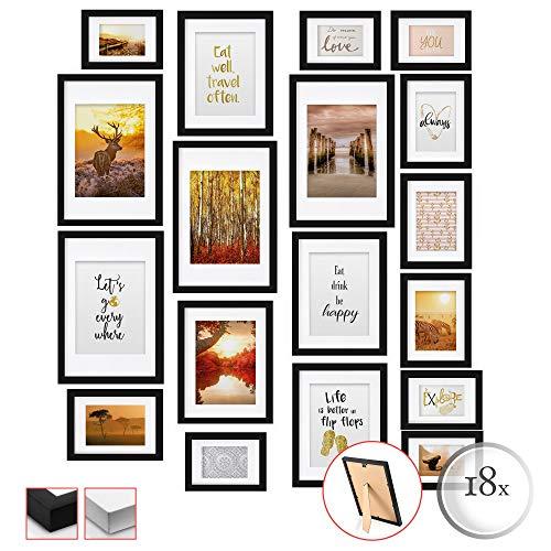 bomoe Juego de Marcos de Fotos múltiples para la Pared Passion Collage - 18 Piezas - con paspartú - Negro - 6X 10,5x15cm / 4X 13x18cm / 4X 18x24cm / 4X 20x30cm