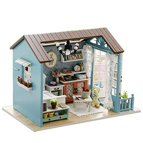UniHobby DIY Dollhouse Miniature Kit Romantic Forest Time Wooden Dollhouse Furniture Light Gift House Toy