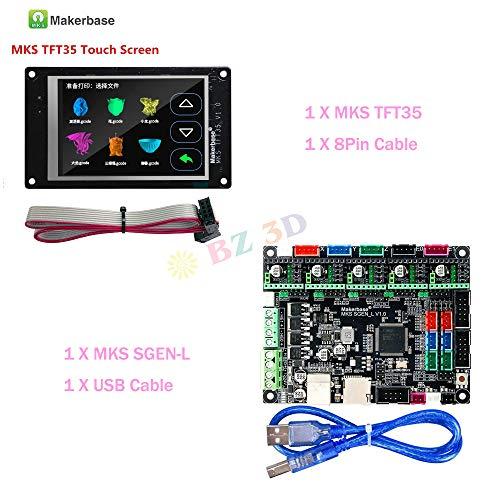 BZ 3D Controller Board Steuerungen MKS SGen L V1.0 32-Bit-Motherboard-kompatibles Uart/SPI Open Source Marlin2.0 / Smoothieware mit TFT35 Touchscreen-Display für 3D-Druckerteile (Board+MKS TFT35)