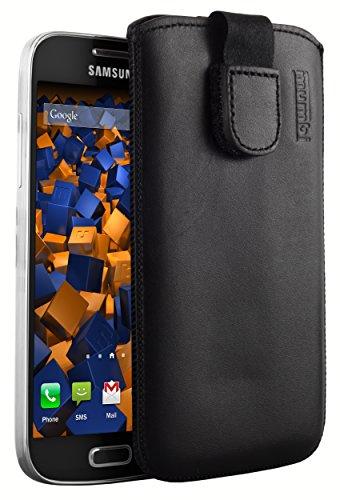 mumbi Echt Ledertasche kompatibel mit Samsung Galaxy S4 mini Hülle Leder Tasche Case Wallet, schwarz