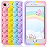 Aupartuds Pop It Phone Case for iPhone 8 7 6,Stress Reliever Push Pop Bubble Fidget Toys Cover,Cute Funny Soft Silicone Protective Shell for iPhone SE 4.7 inch - Rainbow