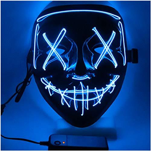 SOUTHSKY LED Maschera Faccia Nera Luminosa Notte Luce Neon El Wire Light Up for Chrismas Halloween Costume Cosplay Party (Blu)