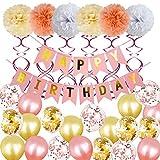 SONGSH Canciones Fiesta De Cumpleaños Set Papel Flor Bola Carta Pull Flag Fiesta De Cumpleaños Decoración 12 Pulgadas Lentejuelas Globo Suministros de Vacaciones