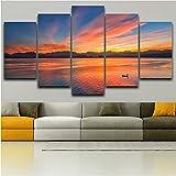 Wuyyii ウォールアートHdプリント写真家の装飾ポスターフレーム5パネル湖サンセットファイヤークラウド美しい風景現代リビングルーム絵画-30X40Cmx2/30X60Cmx2/30X80Cmx1
