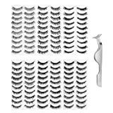 Lurrose 60 Pairs False Eyelashes Natural Look Makeup Handmade Fluffy Lashes 6 Styles Thick Long Cross Party Fake Eyelashes with Eyelash Extension Tweezer for Women Girls