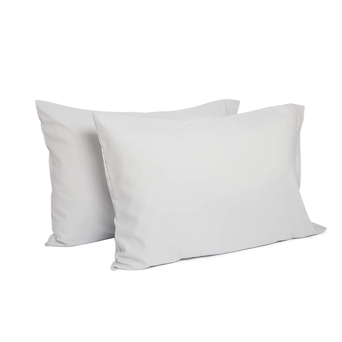 TILLYOU Standard/Queen Size Pillowcases Set of 2, Fits Pillows Sized 20x26 or 20x30, 100% Double Brushed Microfiber, Silky Soft & Hypoallergenic Pillow Cover with Envelope Closure, Pale Gray