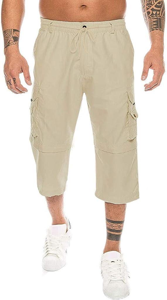 WUAI-Men Outdoors Cargo Shorts 3/4 Relaxed Fit Below Knee Multi-Pocket Capri Long Shorts Cotton Twill Beach Capri Pants