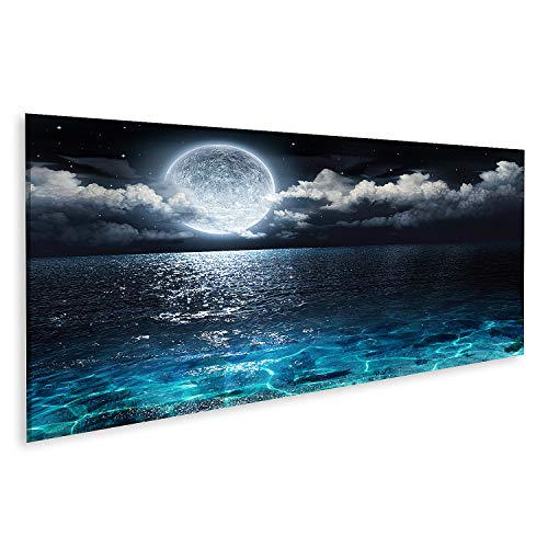 Cuadro en Lienzo Panorama romántico y escénico en el mar por la Luna Llena hasta la Noche Cuadros Modernos Decoracion Impresión Salon