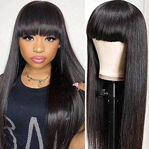 Silk Straight Wigs With Bangs None Lace Human Hair Wigs for Black Women Brazilian Virgin Hair Full Machine Made Wig 20 Inch Breathable Net Cap Natural Color