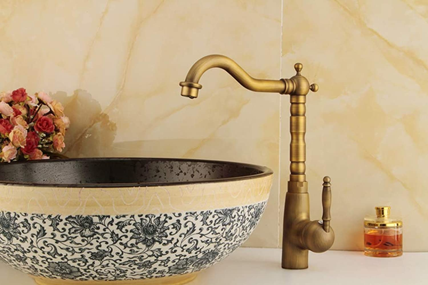 FZHLR Kitchen Faucet Antique Bronze Faucet for Kitchen Mixer Tap with Ceramic Crane Cold and Hot Kitchen Sink Tap Water Mixers Brass,Antique Tall