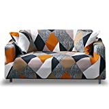 Hotniu 1-Piece Fit Stretch Sofa Covers - Polyester Spandex Printed Sofa Slipcovers - Furniture Cover/Protector for Loveseat Couch with Elastic Bottom & Anti-Slip Foam (2 Seater, MF)
