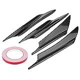Bumper Deflector, 4pcs Carbon Fiber Car Front Bumper Deflector Lip Splitter Fins Canards Body Spoiler