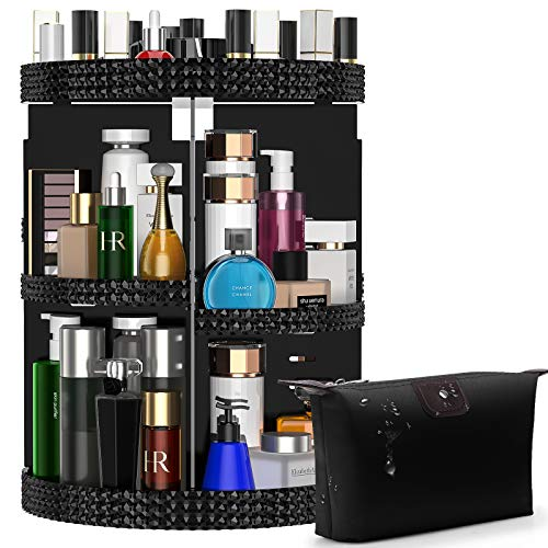 Awenia Makeup Organizer 360-Degree Rotating, Adjustable Makeup Storage, 7 Layers Large Capacity Cosmetic Storage Unit, Fits Different Types of Cosmetics and Accessories, Plus Size with Makeup Bag(Black)