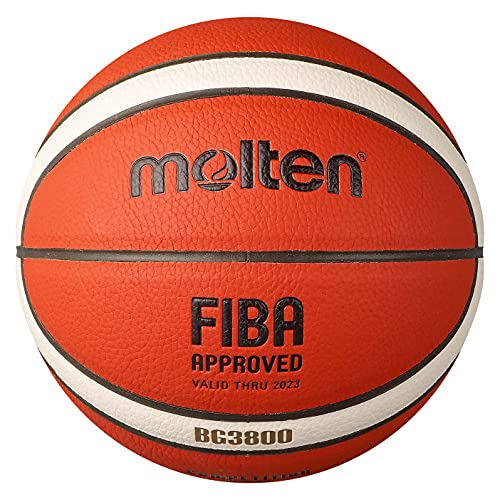 Molten BG3800 Basketball, Indoor, FIBA Approved, Composite Leather, Size 7, Suitable for Boys Age 14 and Adult (B7G3800)