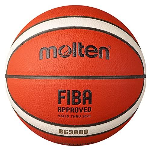 MOLTEN Balón B6G3800 - Balón de Baloncesto, Color Naranja y Marfil/marrón, 6