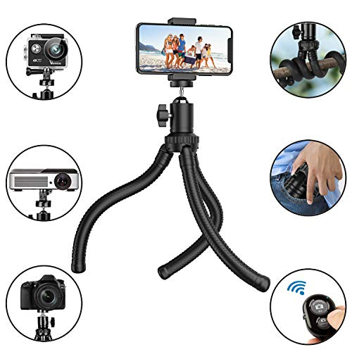 Phone Tripod, Flexible Cell Phone Tripod with Wireless Remote Shutter and Universal Clip, Adjustable Tripod Stand Holder for iPhone, Android Phone, Camera Gopro (Upgraded)
