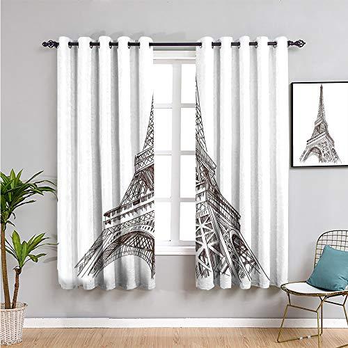 Paris Home Decor - Cortinas para puerta corredera, 213 cm de largo, diseño de ilustración de torre Eiffel europea, construcción cultural arte impresión de muebles de protección 84 x 84 pulgadas marrón