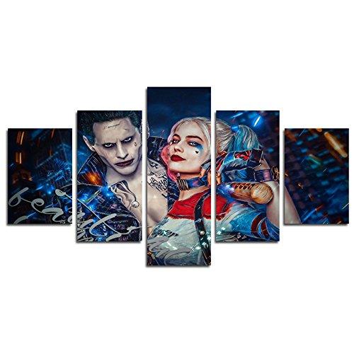 h. COZY5Piece clown e Harley Quinn Movie pittura per soggiorno Home Decor canvas Wall Art poster (senza telaio) senza cornice sku-max63pollici X30pollici