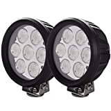 Lightronic 6 Inch Round 70W 6000K Nature White Super Bright 30° Flood Beam LED Off Road Auxiliary Light for Low Speed Driving, IP69 Waterproof Rating, 2 Pieces