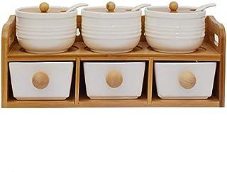 Sywlwxkq Lot de 6, boîte d'assaisonnement à Condiments en Porcelaine avec couvercles - Bouchon en Bambou, cuillère de Serv...