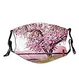 Blütenbaum über Naturhintergrund Frühling SRC Unisex Waschbare und Wiederverwendbare Baumwolle Warmer Gesichtsschutz für den Außenbereich