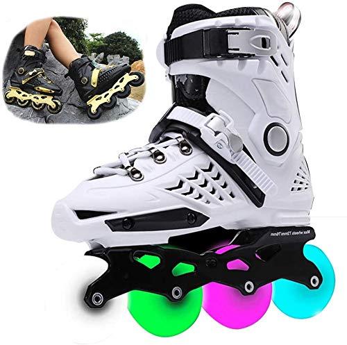 miwaimao Speed Skating-Schuhe, Inline-Skates für Kinder, mit LED-Blinklicht, einreihig, Rollerblätter, professioneller Inline-Sport, Outdoor, Freizeit, Fitness für Jungen, lila - 35, weiß, 35