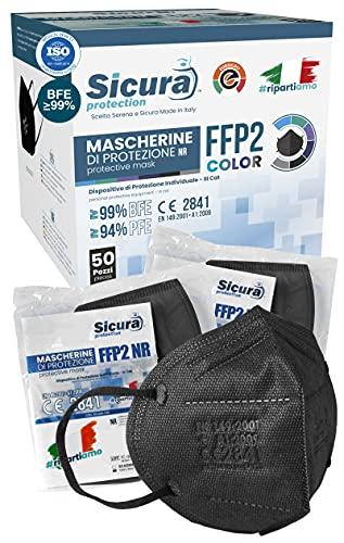 Eurocali 50 Mascherine FFP2 Nere Certificate CE Italia Colorate. BFE ≥99% Mascherina ffp2 Colorata Nera SANIFICATA Prodotta e Confezionata Made in Italy. ISO 13485 dispositivi Medici