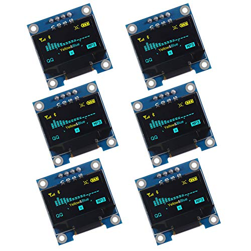 AITRIP 6pcs 0.96 OLED Display Module IIC 128 x 64 Pixel 12864 OLED Yellow Blue I2C 0.96inch OLED Display IIC Serial with SSD1306 Chip for Arduino UNO Raspberry Pi