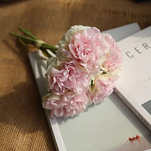 Kunstbloem kunstbloemen pioenroos boeket voor bruiloftsdecoratie 5 hoofden pioenrozen kunstbloemen Home Decor Silk Hydrangeas Gunstige bloemen