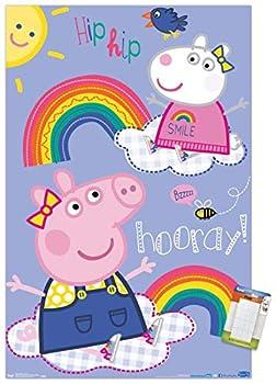 Trends International Peppa Pig - Hooray Wall Poster 22.375  x 34  Poster & Mount Bundle