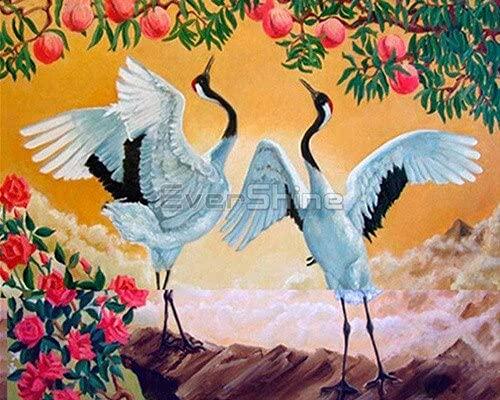 Pintura al óleo por números, grúa para colorear por número, imagen de animales, conjunto pintado a mano, arte de pared, decoración del hogar A14, 40x50cm