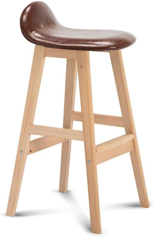 Bar Stool, Linen Plaid Imitation Leather Short Stool, Solid Wood Bracket High Stool (Multi-color Optional, 77 cm High) (Size   Brown)