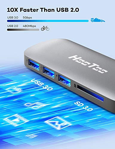 HooToo USB C Hub, Multiport Aadapter with 4K USB C to HDMI, 3 USB 3.0 Ports, SD Card Reader, 100W PD Charging Port, USB-C Hub that Compatible with MacBook/Pro/Air/IMAC/iPad Pro/XPS and More