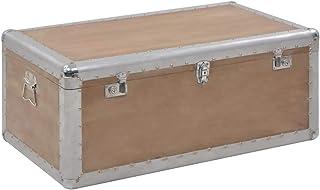 Festnight Boîte de Rangement Coffre de Rangement intérieur en Bois Massif 91x52x40 cm Marron