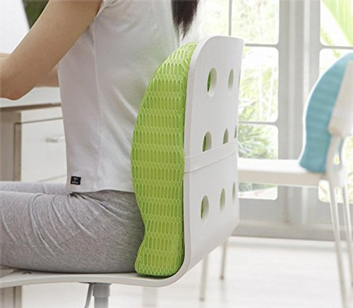 HealthSense Soft-Spot BC 21 Orthopedic Backrest Cushion with Memory Foam for Study, Home, Office chair & Sofa with Lumbar Support for Back Pain Relief (Grass Green)