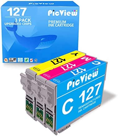 PicView 3 Pack 127 Remanufactured Ink Cartridge Replacement for Epson T127 127 use for NX625 product image