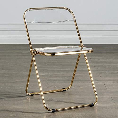 KLJLFJK Silla plegable transparente silla respaldo hogar silla comedor silla de cristal acrílico taburete-transparente color B
