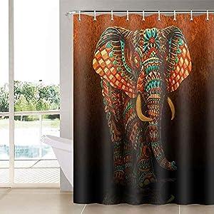 N- Aidatain Elephant Shower Curtain Vibrant Colors Bath Curtains for Bathroom Set Mandala Floral Vintage African Tribal Bathroom Curtains Shower Set for Bathtub 72x72 YLLTAT454