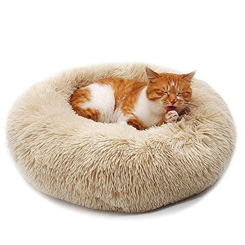 Lrhps Deluxe-Haustierbett,Hundebett mit kuscheligem Plüsch,Donut Cuddler Haustierbett,Mittelgroße und Große Hunde atmungsaktiv,Braun,70 * 70cm