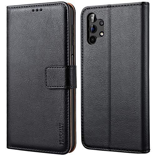 Peakally Cover Compatibile con Samsung Galaxy A32 4G (Non per A32 5G), Flip Caso in PU Pelle Premium Portafoglio Custodia per Samsung Galaxy A32 4G, [Kickstand] [Slot per Schede]-Nero