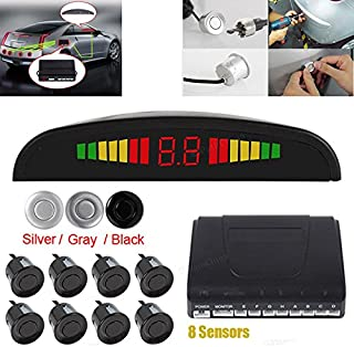 Omnibearing & Intelligent Parking Assistance System Contain Visual Digital LED Display & 8 Sensors(Silver)