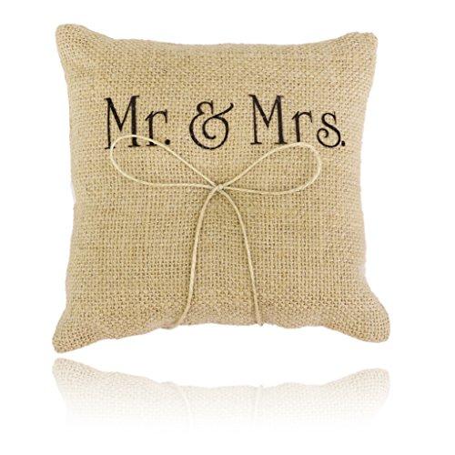 Coussin Porteur de l'Anneau d'Alliance 15cm x 15cm Vintage en Jute Motif de Mr & Mrs pour Mariage