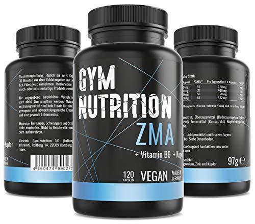 ZMA Hochdosiert - Zink + Magnesium + Vitamin B6 Kupfer - Hochwertiger Komplex im Premium Qualität - Vegan - Made in Germany - Besonders für Sportler geeignet - 120 vegane Kapseln