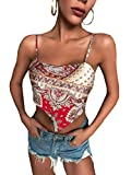 Milumia Women's Scarf Print Tie Back Spaghetti Strap Asymmetrical Satin Cami Crop Top Red and Gold Large