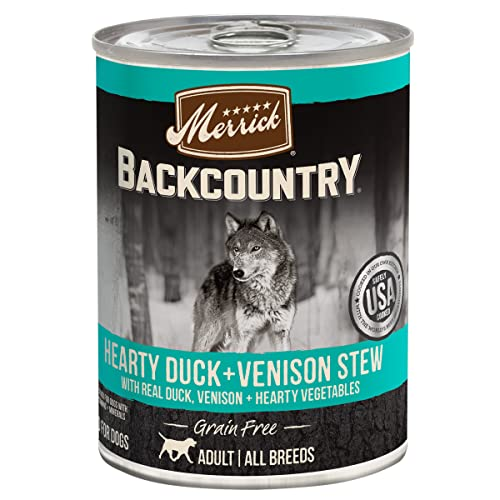 Merrick Backcountry Hearty Duck & Venison Stew Grain Free Wet Dog Food, Case of 12, 12.7 oz.